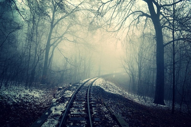 Spooky haunted railroad for Halloween