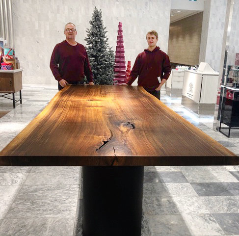 Hand Crafted Wooden Table at Christmas