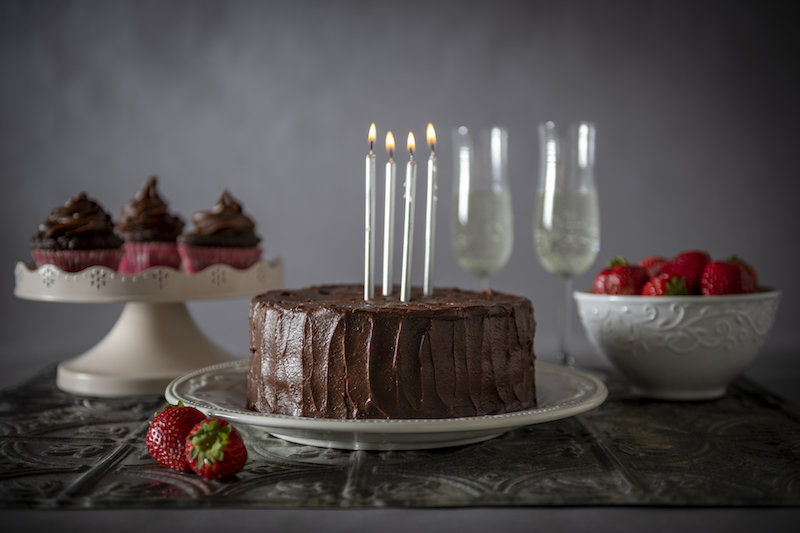 Double layer vegan chocolate cake